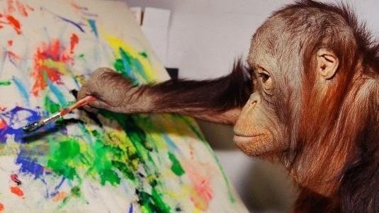 Mono pintando